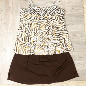 Cacique   Copper Zebra Print Two Piece Swim Suit